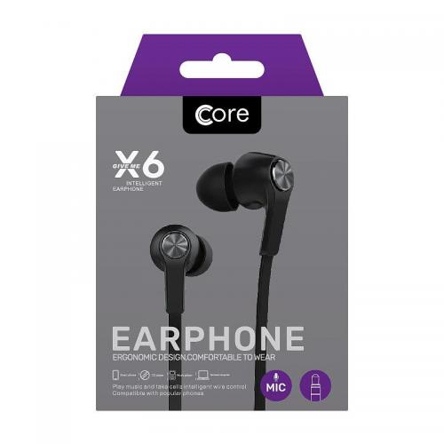 Core X6 Earphones Black