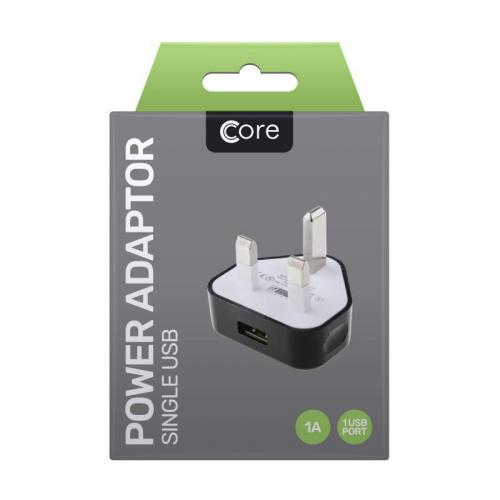 Core Power Adaptor Single USB Black