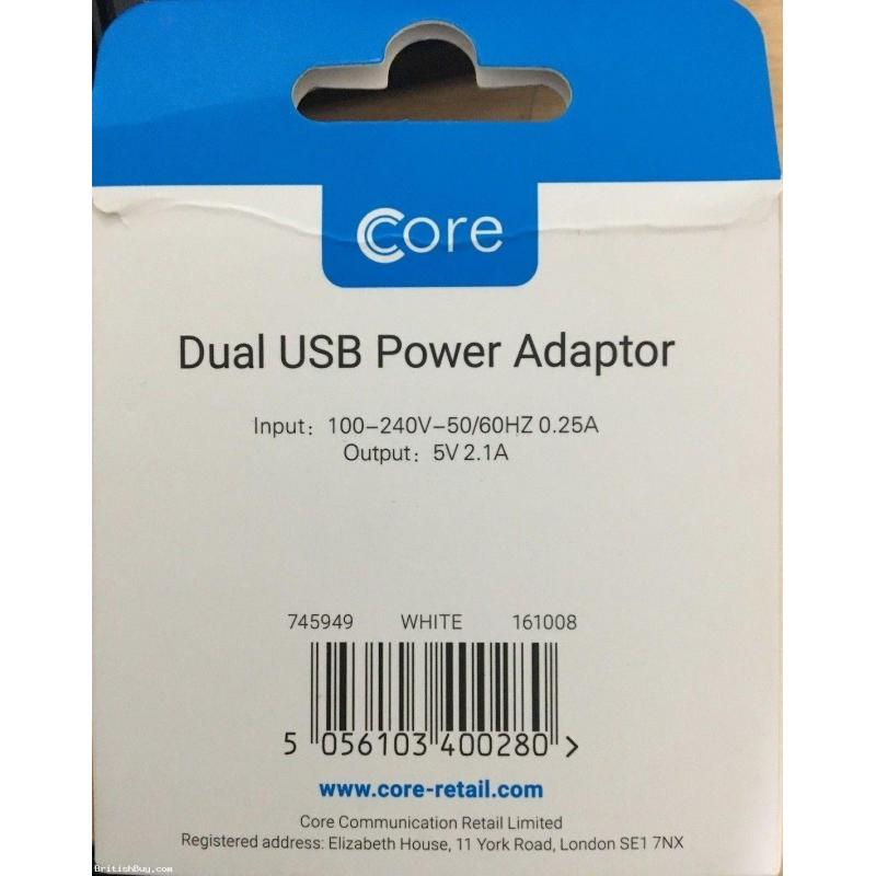 Core Power Adaptor Dual USB